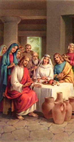 Jesus making wine in Cana