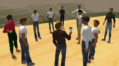 The group in Second Life (I'm the guy with the wine glass)
