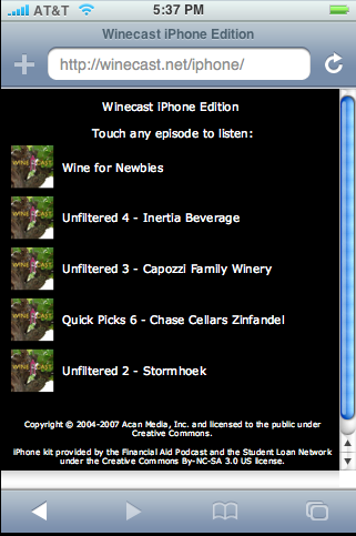 Winecast iPhone Edition