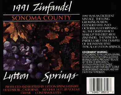 Lytton Springs WInery Zinfandel