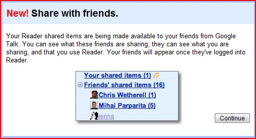 Google Reader Shared Feature
