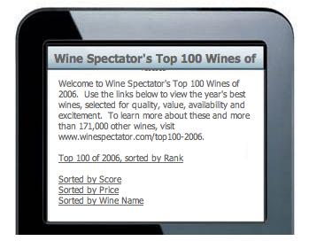 Wine Spectator Top 100 Wines of 2006