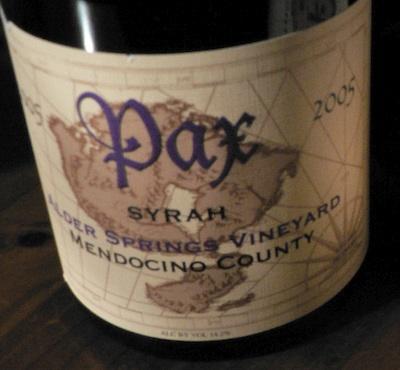 Pax Cellars, Syrah, Alder Springs 2005