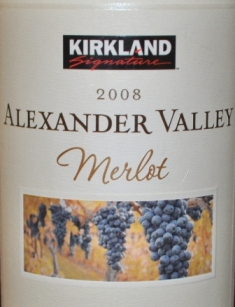 Kirkland Signature, Merlot, Alexander Valley 2008