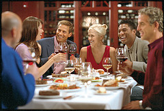 People enjoying wine at a restaurant